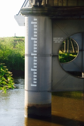 Water level marks on the Hinton Bridge